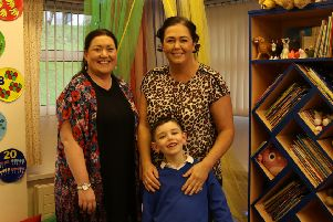 Caolan O'Neill with mum Amanda and teacher Miss Fox