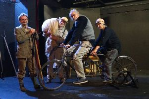 Ian Sharp and his partner Liz on an original tandem used in the communities, with fellow cast members Ian Rushby, left, and Chris Walshaw. The final cast member is Charlotte Broughton (not pictured) EMN-171127-143548001