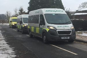 Ambulances line up ready to transport patients.