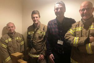 BBC Radio Lincolnshire presenter pictured shortly after he was rescued from his bedroom by Boston fire-fighters. Images supplied.