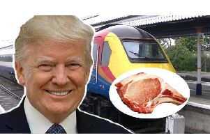 A cardboard cut-out of Donald Trump and a pork chop are some of the bizarre items left behind by passengers of East Midlands Trains in 2017.