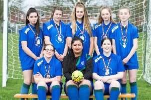The Somercotes Academy team, from left, back ' Lydia Wright, Kitty Crossley, Teanna Willey, Isobel Russell, Charlotte Merry; front ' Charlotte Wright, Manisha Bains, Libby Jordan. Missing from picture ' Freya Donner. Picture: Hull News & Picture EMN-190404-184209002