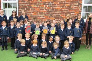 Staff and students celebrate the school's 'Good' Ofsted report earlier this month.