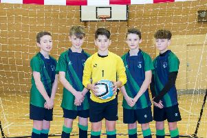 Louth Academy Year 7 Futsal team, from left, Harry McBurnie, Oliver Carter, Billy Scollick, Billy Bennett, Cameron Lawrie.' 'Picture: Sean Spencer/Hull News & Pictures Ltd EMN-200602-135125002