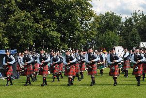 Pipe Major Richard Parkes MBE (left in front row) and Field Marshal Montgomery Pipe Band pictured entering the competition arena at the Lisburn & Castlereagh City Pipe Band Championships at Moira on Saturday 5th August.