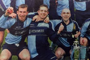 Neil McKinley, pictured centre, with Hill Street team mates Paul Mercer (left) and Greig Stewart (right)