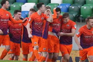 Glenavon Andrew Mitchell celebrates his goal against Linfield