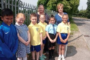 Pupils of St Francis Primary School in Lurgan with teachers Miss Rice and Mrs McGrann
