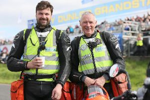 Allister MacSorley (left) with his father, Dr Fred MacSorley, at the Ulster Grand Prix.