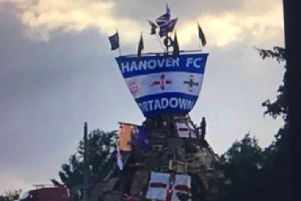 The Hanover FC flag which appeared on a anti-internment bonfire.