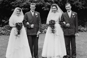 Brothers David and Victor Graham pictured with brides Florence and Ina on their wedding day 60 years ago.