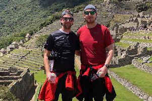 Greg McCormick (right) and Adam Montgomery on their Machu Picchu trek in memory of Adam's brother, Aaron.