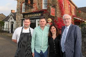 Alderman Allan Ewart, MBE, Vice-Chairman of Lisburn & Castlereagh City Council's Development Committee welcomes Leigh Ferguson, the new Head Chef of Clenaghans, Aghalee. Also pictured are the owners of the restaurant Stevie and Cristina Higginson.