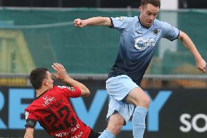 Institute defender Colm McLaughlin fired home his first goal for the club.