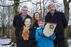 Raymond Robinson, Belfast Zoo, Niamh-Anne McNally,  Alpha Programme; John O'Dowd MLA with St Francis Primary School's Eimear Brown and Cormac McCavigan