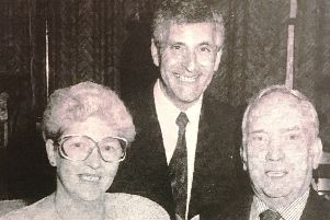Mr Cyrus Magee who retired from Saracen's after 40 years in 1992 is pictured with his wife Jean and managing director Mike Da Costa