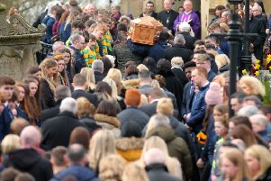 Press Eye Belfast - Northern Ireland 22nd March 2019''Funeral of 16-year-old Connor Currie at St Malachy's Church in Edendork, Co. Tyrone.  Connor died along with Morgan Barnard(17) and 17-year-old Lauren Bullock after an incident at the Greenvale Hotel in Cookstown on St Patrick's night. ''Picture by Jonathan Porter/PressEye.com