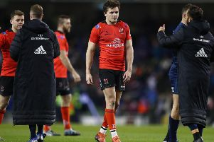 A dejected Jacob Stockdale leaves the field after Leinster defeated Ulster in European Champions Cup quarter-final tie