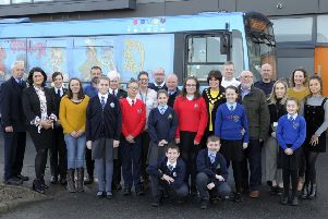 PCSP Event at Brownstown Community Centre 11th March 2019. Pictured with local schools pupils are Annette Blaney (PCSP),  Translink Safety Officers Susan O'Neill and Pasul McKenna, Safety Bus Co-ordinator Kevin Wallace, PSNI Neighbourhood Watch Officers Pamela McElhinney and Leanne Heslip, NIFRS Officers David Lappin and Michael Teggart, Debbie McCaigue and Sherie Part (Future Proof). �Edward Byrne Photography