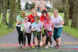 "Launching the Heart & Sole Colour Dash 2019 is Lord Mayor of Armagh, Banbridge and Craigavon, Councillor Julie Flaherty with Shane Devlin, Mollie Jackson, Darcy Jackson, British Heart Foundation NI representative ""rla Clarke, Investing for Health Officer Cathy Devlin and Parks Development Officer Leanne McShane."