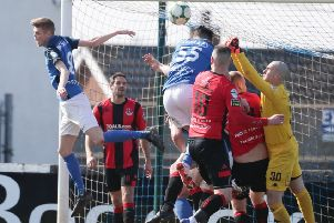 Action from Glenavon's dramatic 2-1 victory over Crusaders. Pic by Pacemaker.