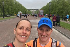 Nikki and Brian Graham completed their first marathon in the Belfast City Marathon.