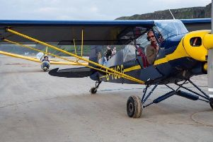 Harry Hanna indulging his passion for flying.