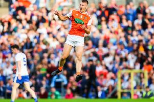 Armagh's Rian O'Neill celebrates scoring a goal in the win over Monaghan