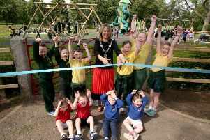 Lord Mayor, Councillor Mealla Campbell is joined by children from St Patrick's Primary School, Aghacommon and Tannaghmore Gardens Playgroup to open the brand new �250,000 district play park in Tannaghmore Gardens.