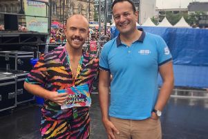 Lurgan singer Conleth Kane and Taoiseach Leo Varadkar at this year's Belfast Pride
