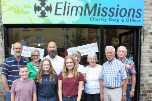 Volunteers at the Elim Missions Charity Shop and Office.