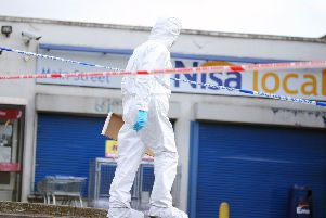 Press Eye - Belfast - Northern Ireland - 20th August 2019''The scene on Main Street in Waringstown where a murder investigation has been launched.  A man was shot dead last night at a filling station in the Co Down village''Picture by Jonathan Porter/PressEye