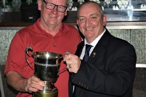 Owen Gallaghan 1st place all receiving their prizes from Silverwood club Captain Brendan Gorman