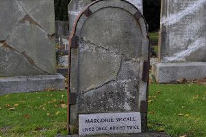 The grave of Margorie McCall in Shankill Graveyard. INLM44-136gc