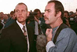 PACEMAKER BFST 11-06-02:  Mark Fulton pictured (left)in 1996 who was found dead today in his prison cell.  He is pictured with his close friend and associate of  Former LVF leader Billy Wright.