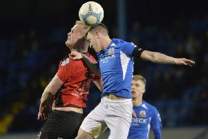 James Singleton battling for Glenavon with Crusaders' Jordan Owens on Saturday. Pic by PressEye Ltd.