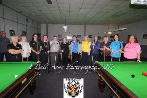 Pictured are NI Ladies Snooker Tour Event players who attended the 147 Snooker Club in Antrim recently. Included are Chucky Tasha Preston, Cathy Peg, Alex Flop Flip Babb, Mary Cunningham, Avril Preston, Debra Murphy, Andrea Mcalister, Roisin Smith, Jean Mcilroy, Susan Graham, Ciara Furgrove-Crawley and Claire Stewart