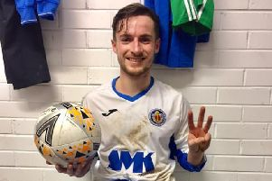 LBBOB hat-trick scorer Thomas Greenaway pictured with match ball