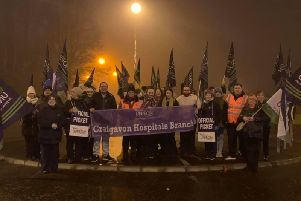Staff at Craigavon Hospital on the picket line this morning