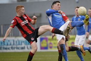 Danny Purkis (right) battling with Jarlath O'Rourke. Pic by INPHO.