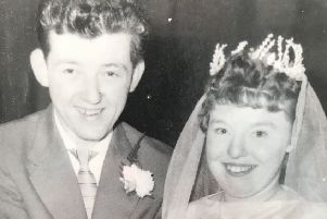 Peter and Brenda Gilbert on their wedding day in 1958