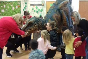 Roar-some visitor at Luton primary school