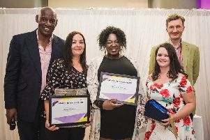Awards host Shaun Wallace (left), students Sarah Gatehouse, Samantha Tedeku, Shannon Delboyer and senior lecturer in Applied Social Studies at Bedfordshire Alex de Mont.