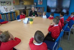 Baroness Young of Old Scone with pupils at  Someries Infant School