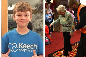 Contestants Noah Russell and Gill Hayward.  The Legowalk is held at the hospice: training 3pm; walk 3.30pm.