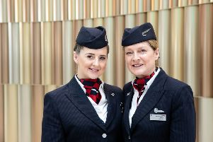 Leah Bygrave and her mum Maria Bygrave (both Cabin Crew) who were working together on a flight for Mother's Day pictured at T5, London Heathrow.  (Picture by Nick Morrish/British Airways)