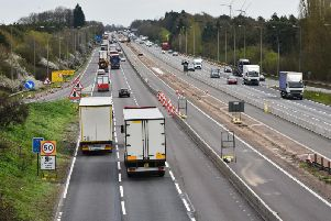The smart motorway is complete around junction 16 and is under construction between junction 14 and 15 (above)