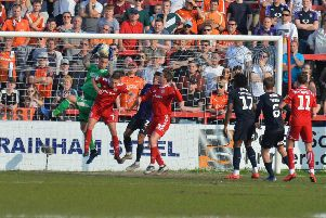 Marek Stech claims a cross at Accrington on Saturday