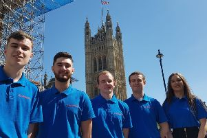 Emily (right) and her colleagues in London.