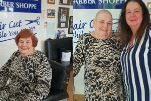 Margaret before the head shave (left) and after with hairdresser Tanya.